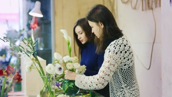 Thumbnail for Two Florists Working In a Flower Shop