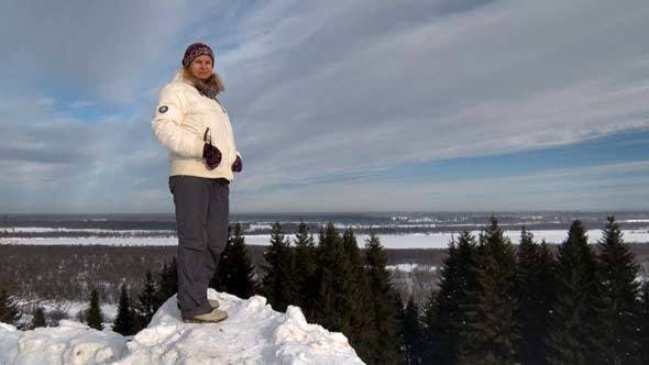 Thumbnail for Woman on Mountain in Winter