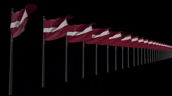 Row Of Latvia Flags With Alpha 2K