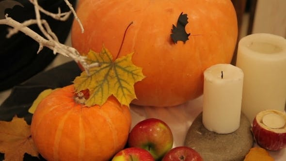 Thumbnail for Candles And Pumpkin On Halloween