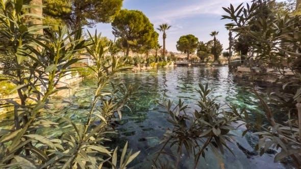 Cleopatra's Pool In Antique Hierapolis, Pamukkale, Denizli, Turkey