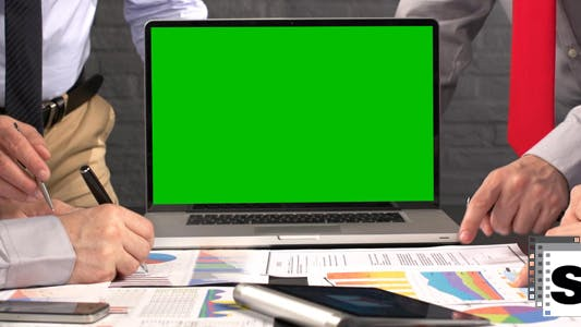 Thumbnail for Business Meeting Green Screen Laptop