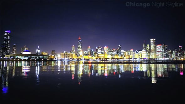 Thumbnail for Chicago Night Skyline by the Lake