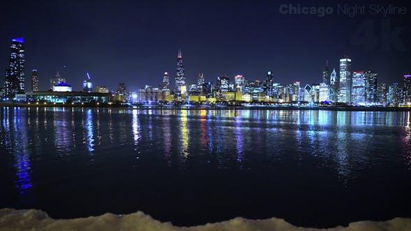Cover Image for Cold Night Chicago Skyline by the Lake