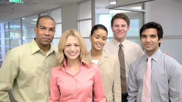 Thumbnail for Portrait of five coworkers in office