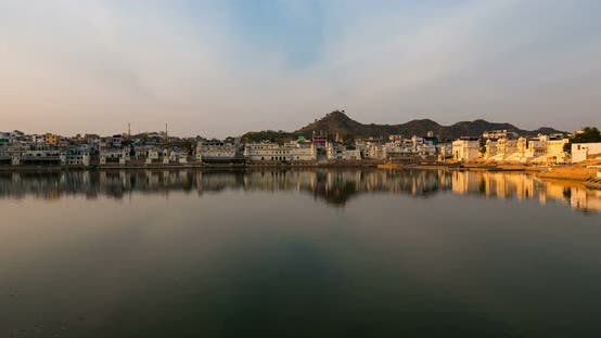 Sunset time lapse at Pushkar, Rajasthan, India.