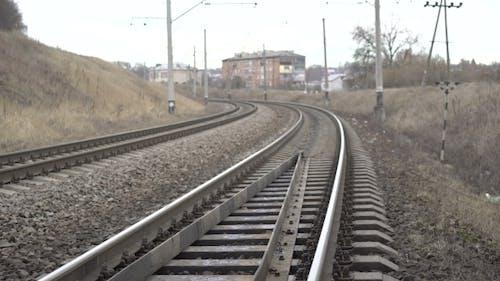 Train Metal Railway, Isolators In The Ukrainian Village