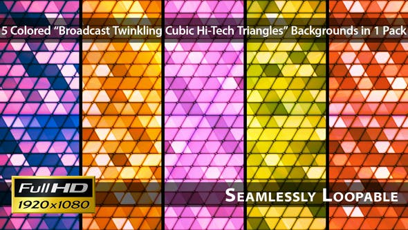Thumbnail for Broadcast Twinkling Cubic Hi-Tech Triangles - Pack 01