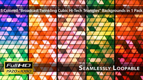 Broadcast Twinkling Cubic Hi-Tech Triangles - Pack 02