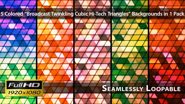 Thumbnail for Broadcast Twinkling Cubic Hi-Tech Triangles - Pack 02