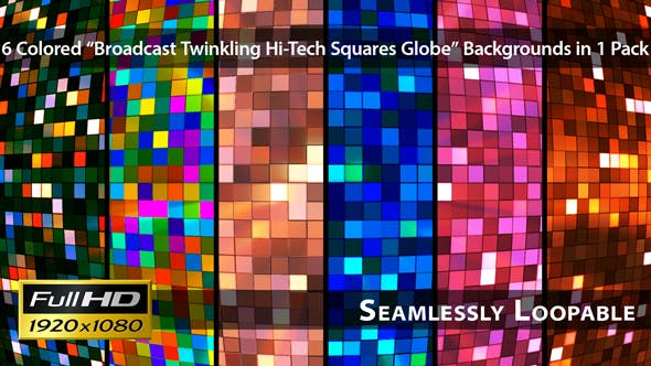Broadcast Twinkling Hi-Tech Squares Globe - Pack 01