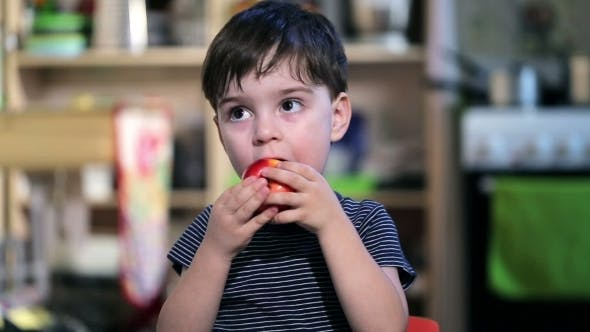 Thumbnail for Cheerful Boy In a Striped Shirt Eating An Apple
