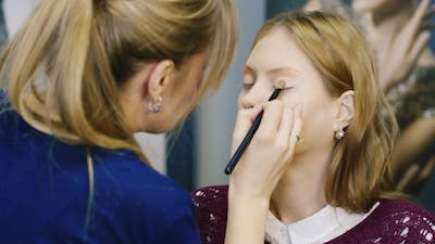Attractive Makeup Artist At Work