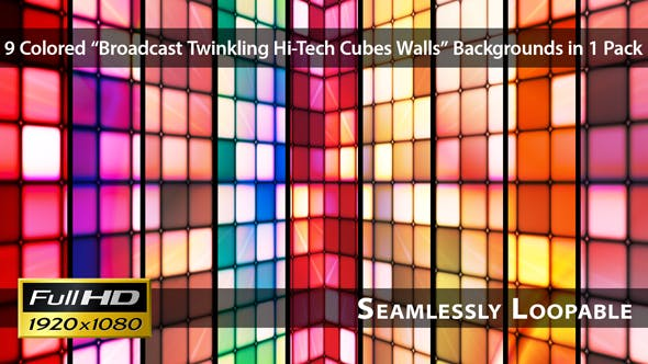 Thumbnail for Broadcast Twinkling Hi-Tech Cubes Walls - Pack 01
