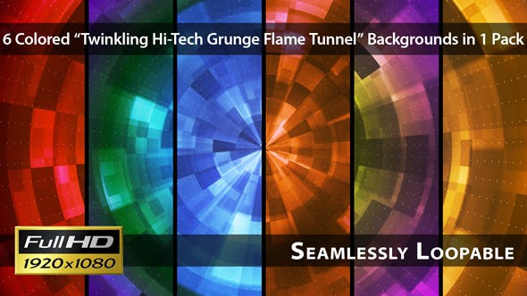 Thumbnail for Twinkling Hi-Tech Grunge Flame Tunnel - Pack 05