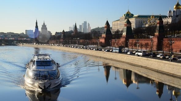 Thumbnail for The Ship Floats On  River Near  Kremlin
