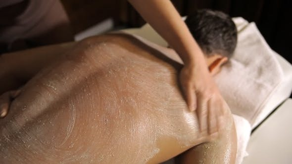 Thumbnail for Spa Treatment. Applying Scrub On Back And Hands