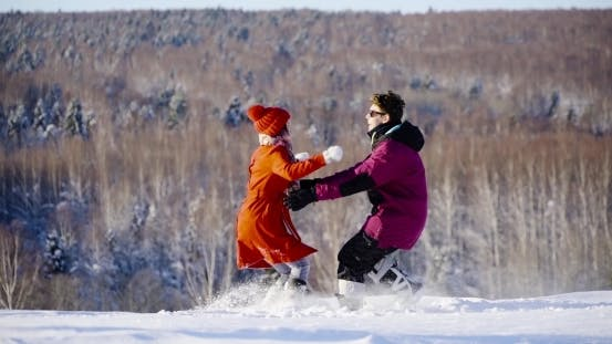 Thumbnail for Young Couple Run Towards Each Other In Winter At Sunset