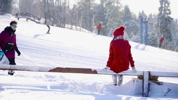 Thumbnail for Young People In Love Hugging And Posing Ski Resort