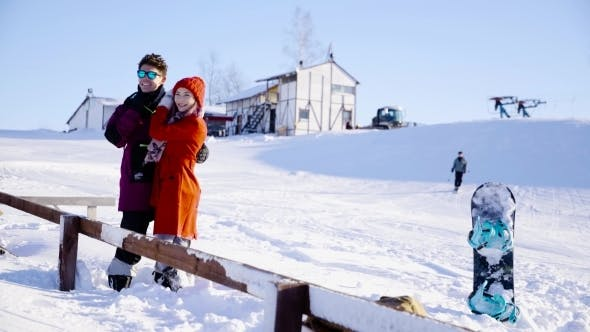 Thumbnail for Young People Hugging And Posing In Winter Sunny Day