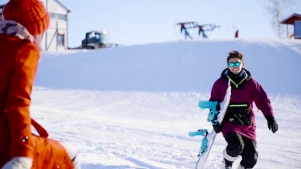 Thumbnail for Young Beautiful People Hugging And Posing Ski Resort