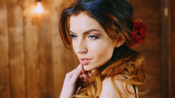 Cover Image for Beautiful Brunette Hair Blowing In The Wind