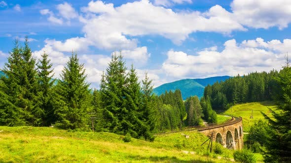 Thumbnail for Summer Mountain Landscape with the Train
