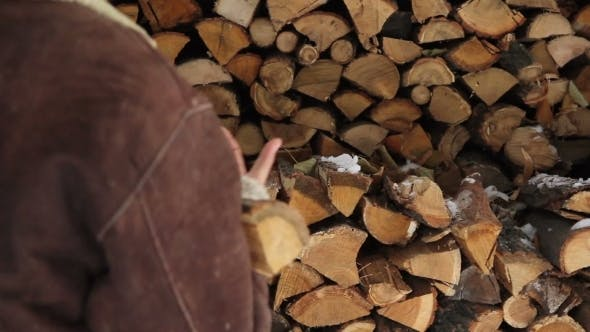 Thumbnail for Man Take Logs From Pile