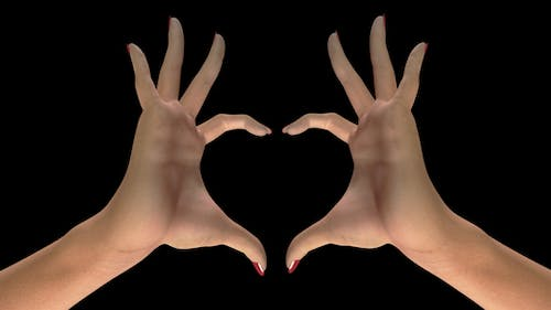 Heart Sign Gesture - White Woman Hands - II