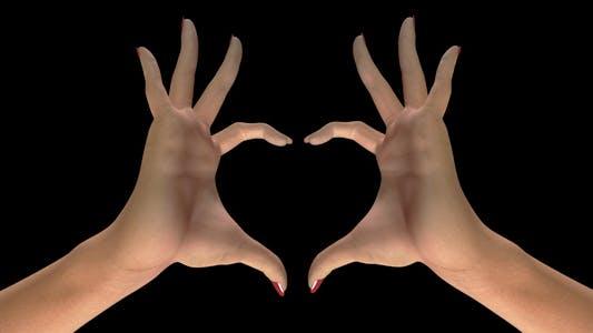 Herz Zeichen Geste - White Woman Hands - II