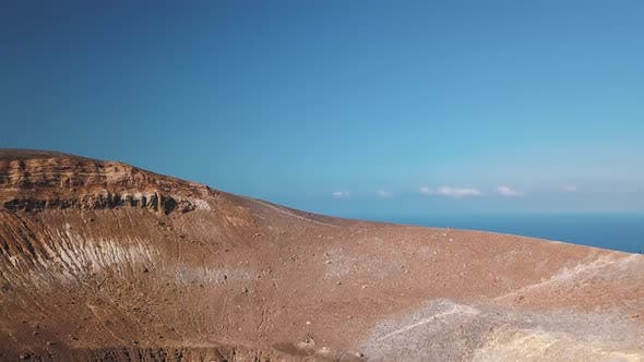 Thumbnail for Aerial View on Volcanic Gas Exiting Through Fumaroles. Steaming Volcano Surface. Vulcano, Lipari