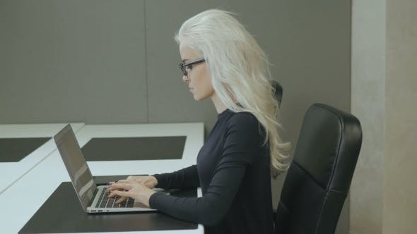 Thumbnail for Business Woman Work In Office With Laptop. Sexy Freelancer