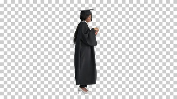 Thumbnail for Happy African American female graduate, Alpha Channel