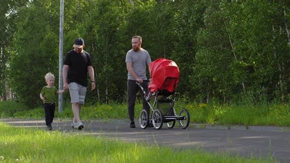 Thumbnail for Two Caucasian Brothers Walking in Park with their Children