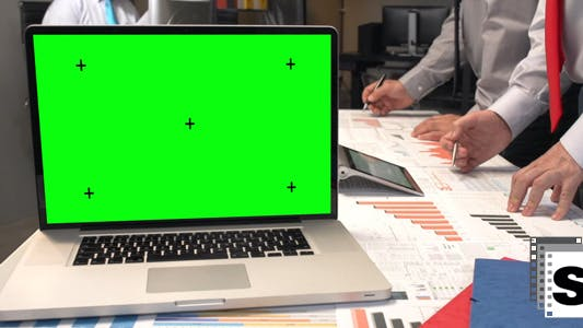 Thumbnail for Business Office Green Screen Laptop
