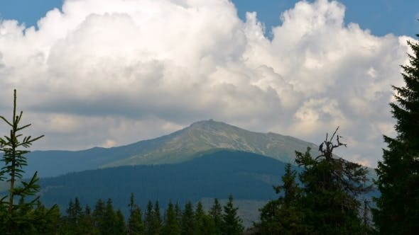 Thumbnail for Moving Clouds Over The Mountain Peak. Carpathian Mountains.