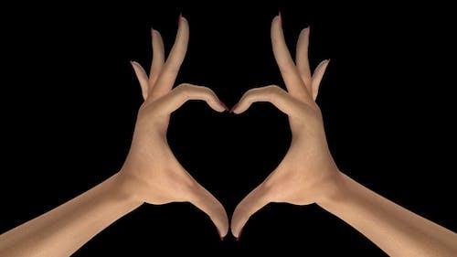 Heart Sign Gesture - White Woman Hands - III