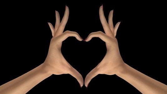 Herz Zeichen Geste - White Woman Hands - III