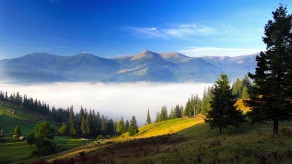 Thumbnail for Foggy Mountain Landscape. Nature. Fog Clouds.