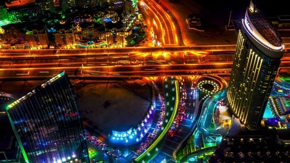 Thumbnail for Night View Highway From Aerial In Dubai.