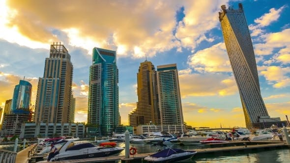 Thumbnail for Cityscapes Sunset Clouds In Dubai.