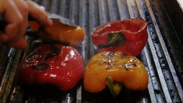 Bulgarian Pepper Is Fried On a Plate