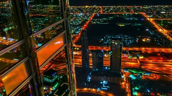 Thumbnail for . Reflections In The Windows Building Of The Night Dubai.