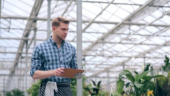 Thumbnail for Florist Making Notes On Tablet In Greenhouse