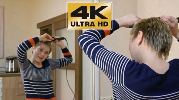 Thumbnail for Pretty Smiley Blond Short Hair Woman Curls Hair