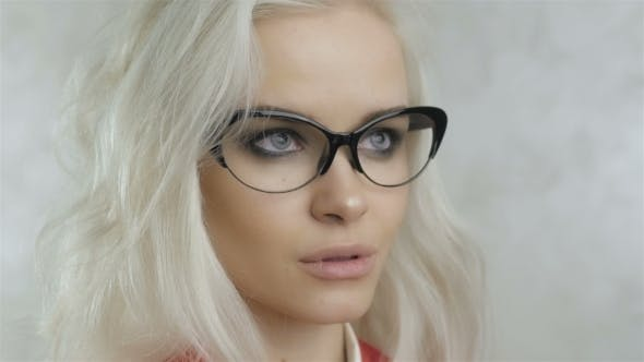 Thumbnail for Portrait Of Beautiful Blonde Woman With Glasses