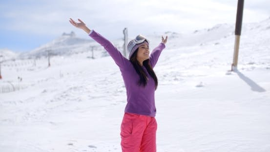 Thumbnail for Happy Young Woman Celebrating Her Winter Vacation