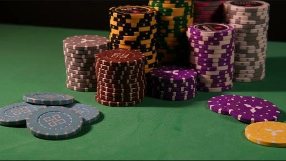 Thumbnail for Many Poker Chips. Green Background