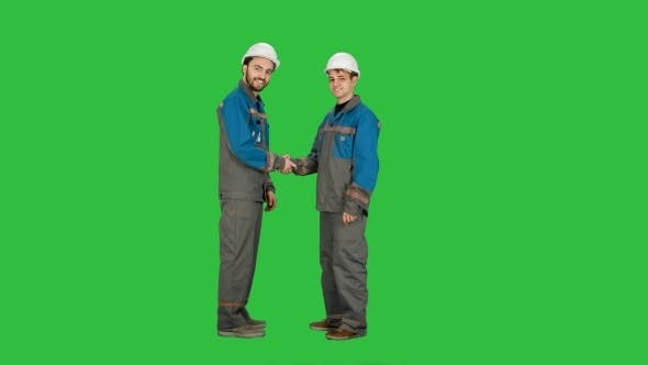 Thumbnail for Two Builder, Architects Handshaking On a Green Screen, Chroma Key.