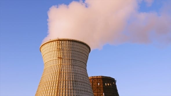 Thumbnail for Water Cooling Tower Stack Smoke Over Blue Sky